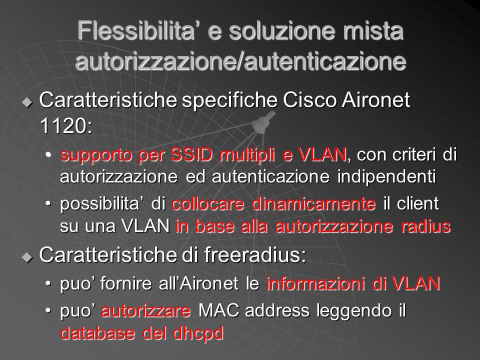 Flessibilita' e soluzione mista autorizzazione/autenticazione  Caratteristiche specifiche Cisco Aironet 1120: supporto per SSID multipli e VLAN, con