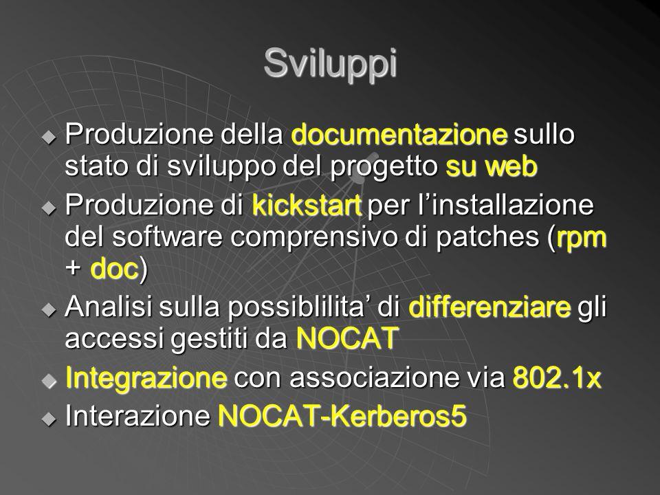 Sviluppi  Produzione della documentazione sullo stato di sviluppo del progetto su web  Produzione di kickstart per l'installazione del software comp