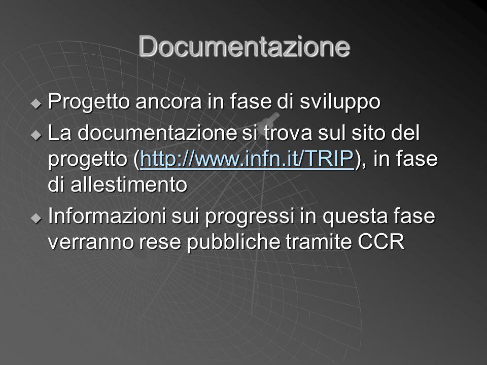 Documentazione  Progetto ancora in fase di sviluppo  La documentazione si trova sul sito del progetto (http://www.infn.it/TRIP), in fase di allestim