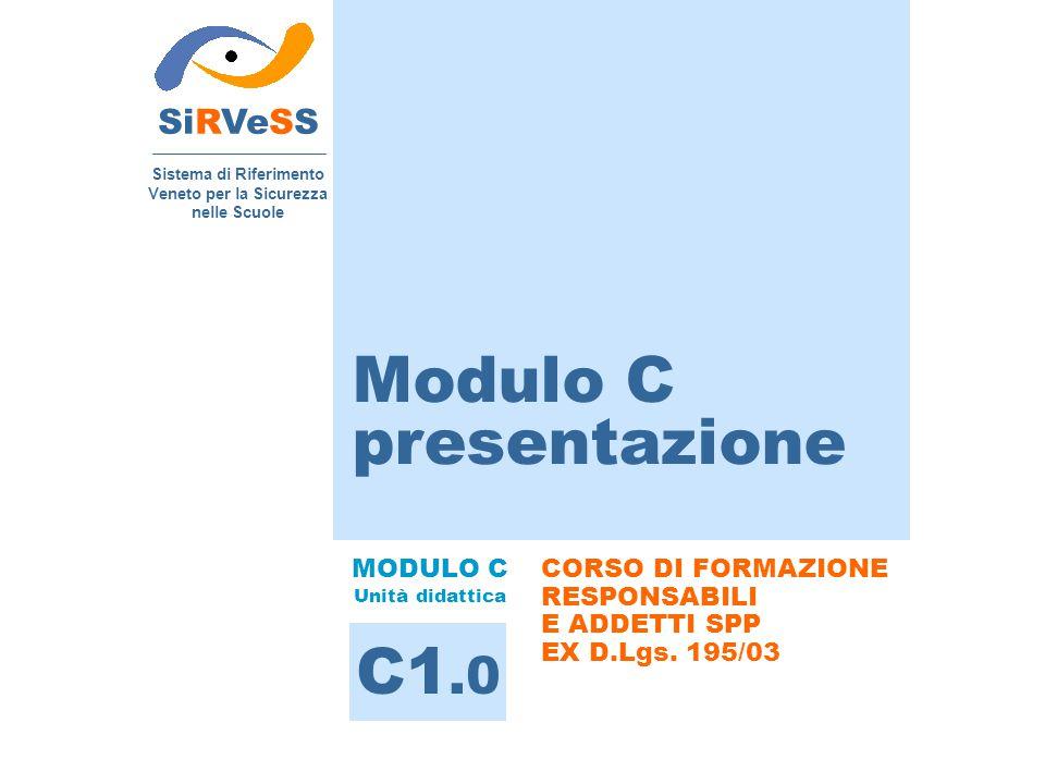 SiRVeSS Sistema di Riferimento Veneto per la Sicurezza nelle Scuole CORSO DI FORMAZIONE RESPONSABILI E ADDETTI SPP EX D.Lgs. 195/03 Modulo C presentaz