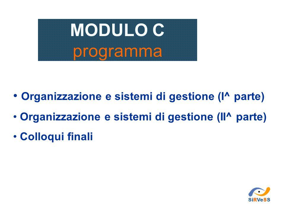 MODULO C programma Organizzazione e sistemi di gestione (I^ parte) Organizzazione e sistemi di gestione (II^ parte) Colloqui finali SiRVeSS