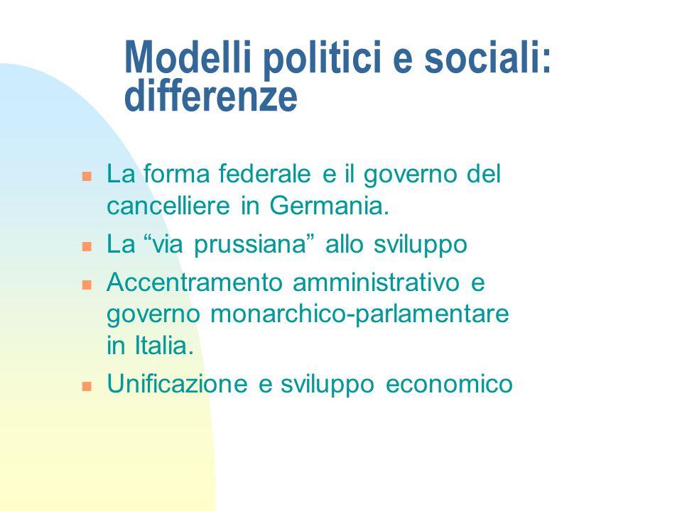 """Modelli politici e sociali: differenze La forma federale e il governo del cancelliere in Germania. La """"via prussiana"""" allo sviluppo Accentramento ammi"""