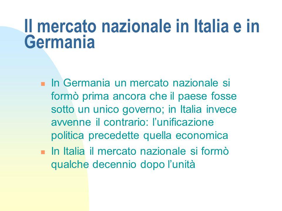 Il mercato nazionale in Italia e in Germania In Germania un mercato nazionale si formò prima ancora che il paese fosse sotto un unico governo; in Ital