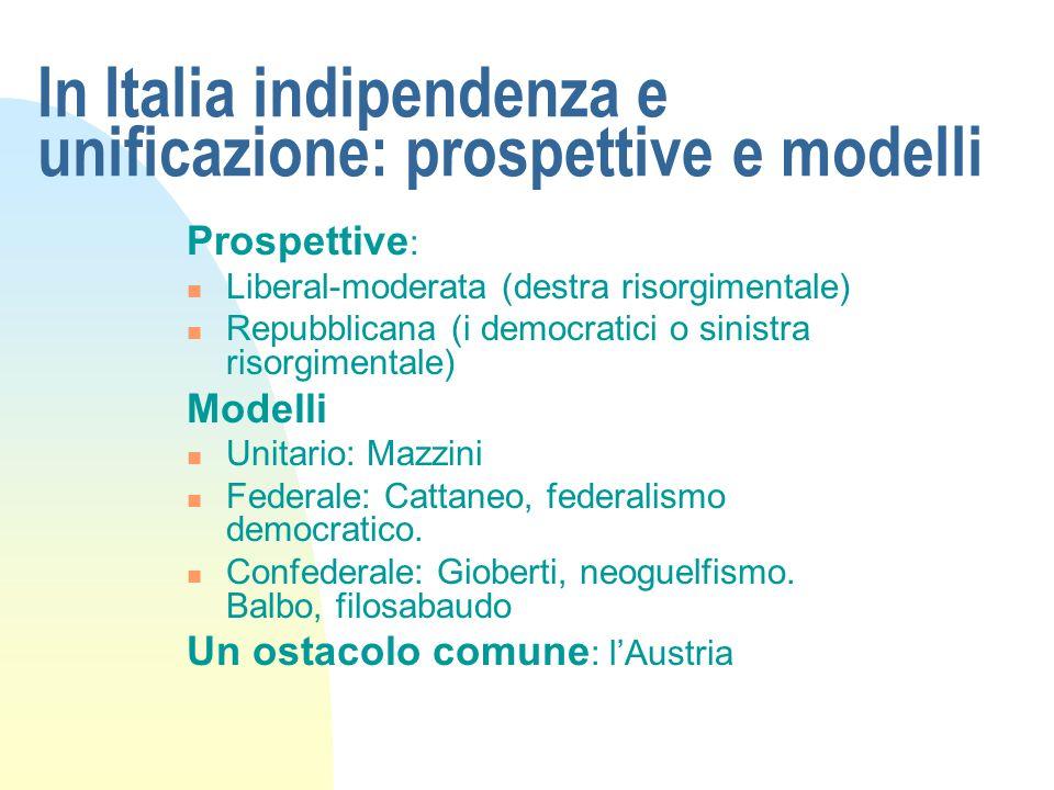 In Italia indipendenza e unificazione: prospettive e modelli Prospettive : Liberal-moderata (destra risorgimentale) Repubblicana (i democratici o sini