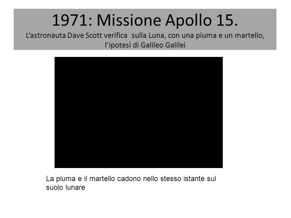 1971: Missione Apollo 15. L'astronauta Dave Scott verifica sulla Luna, con una piuma e un martello, l'ipotesi di Galileo Galilei La piuma e il martell