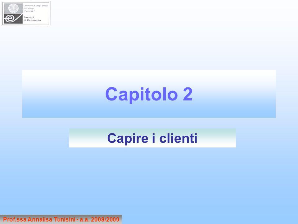 Capitolo 2 Prof.ssa Annalisa Tunisini - a.a. 2008/2009 Capire i clienti