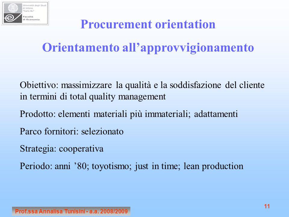 Prof.ssa Annalisa Tunisini - a.a. 2008/2009 11 Procurement orientation Orientamento all'approvvigionamento Obiettivo: massimizzare la qualità e la sod