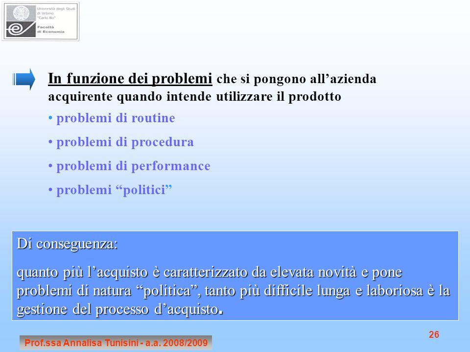 Prof.ssa Annalisa Tunisini - a.a. 2008/2009 26 In funzione dei problemi che si pongono all'azienda acquirente quando intende utilizzare il prodotto pr