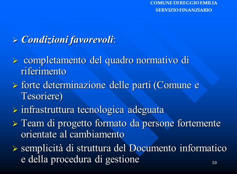 COMUNE DI REGGIO EMILIA SERVIZIO FINANZIARIO 10  Condizioni favorevoli:  completamento del quadro normativo di riferimento  forte determinazione de