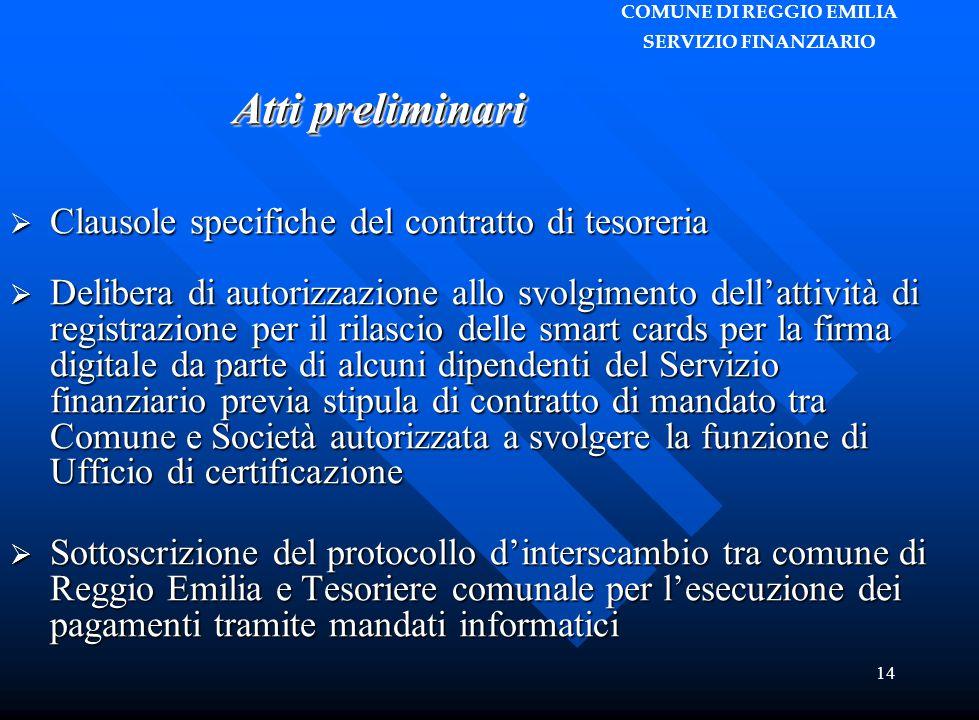 COMUNE DI REGGIO EMILIA SERVIZIO FINANZIARIO 14  Clausole specifiche del contratto di tesoreria  Delibera di autorizzazione allo svolgimento dell'at
