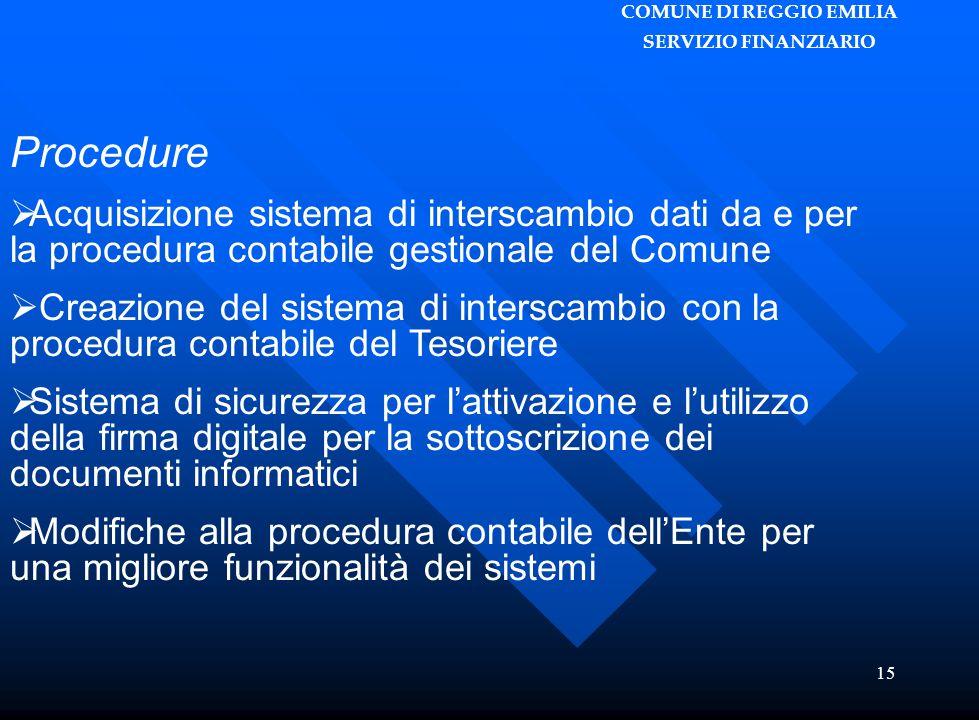 COMUNE DI REGGIO EMILIA SERVIZIO FINANZIARIO 15 Procedure  Acquisizione sistema di interscambio dati da e per la procedura contabile gestionale del C