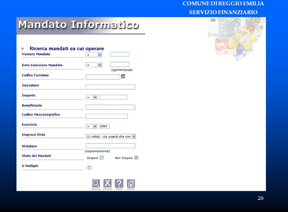 COMUNE DI REGGIO EMILIA SERVIZIO FINANZIARIO 20