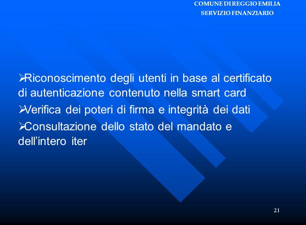 COMUNE DI REGGIO EMILIA SERVIZIO FINANZIARIO 21  Riconoscimento degli utenti in base al certificato di autenticazione contenuto nella smart card  Verifica dei poteri di firma e integrità dei dati  Consultazione dello stato del mandato e dell'intero iter