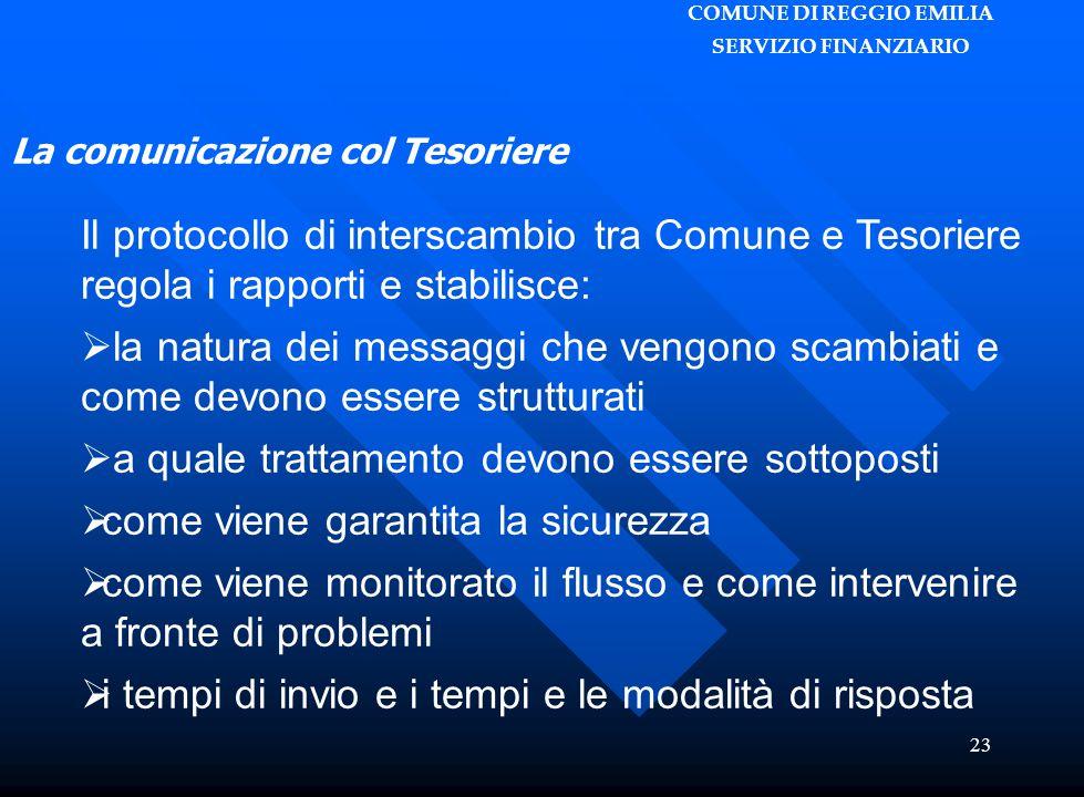 COMUNE DI REGGIO EMILIA SERVIZIO FINANZIARIO 23 Il protocollo di interscambio tra Comune e Tesoriere regola i rapporti e stabilisce:  la natura dei m