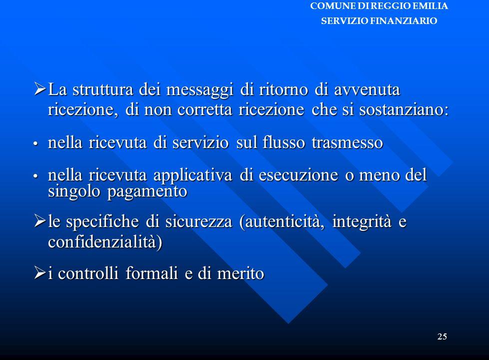 COMUNE DI REGGIO EMILIA SERVIZIO FINANZIARIO 25  La struttura dei messaggi di ritorno di avvenuta ricezione, di non corretta ricezione che si sostanz