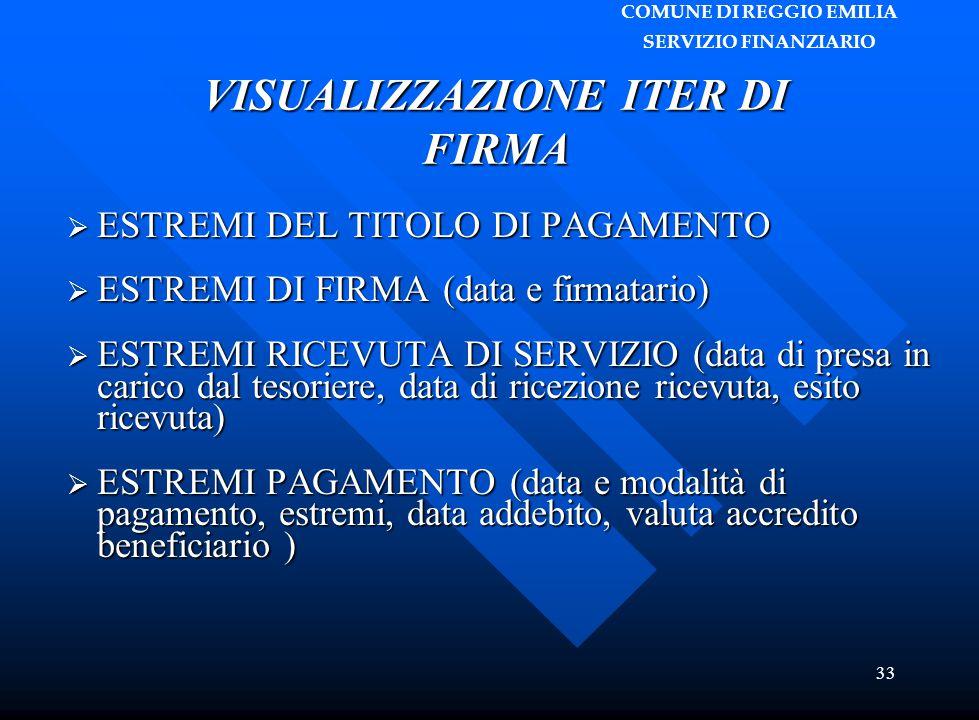 COMUNE DI REGGIO EMILIA SERVIZIO FINANZIARIO 33 VISUALIZZAZIONE ITER DI FIRMA  ESTREMI DEL TITOLO DI PAGAMENTO  ESTREMI DI FIRMA (data e firmatario)