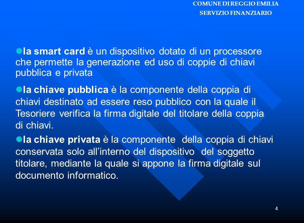 COMUNE DI REGGIO EMILIA SERVIZIO FINANZIARIO 4 la smart card è un dispositivo dotato di un processore che permette la generazione ed uso di coppie di