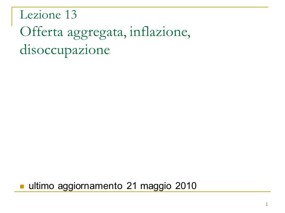 1 Lezione 13 Offerta aggregata, inflazione, disoccupazione ultimo aggiornamento 21 maggio 2010