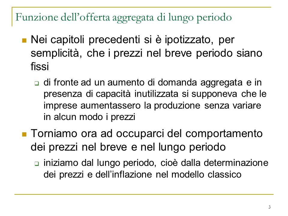 3 Funzione dell'offerta aggregata di lungo periodo Nei capitoli precedenti si è ipotizzato, per semplicità, che i prezzi nel breve periodo siano fissi