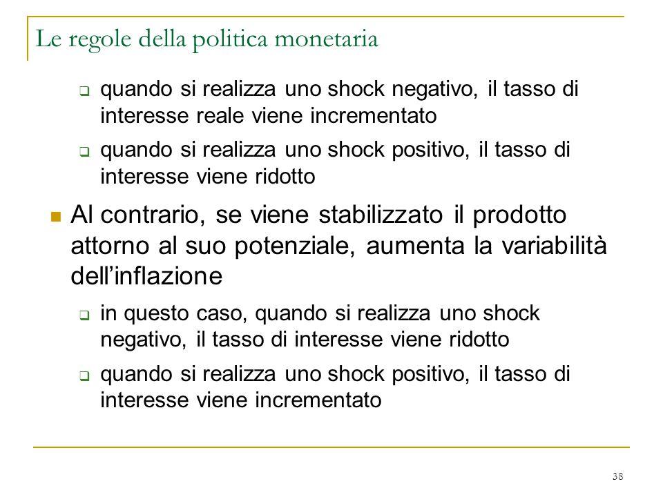 38  quando si realizza uno shock negativo, il tasso di interesse reale viene incrementato  quando si realizza uno shock positivo, il tasso di intere