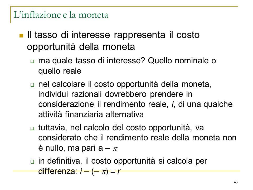 43 Il tasso di interesse rappresenta il costo opportunità della moneta  ma quale tasso di interesse? Quello nominale o quello reale  nel calcolare i