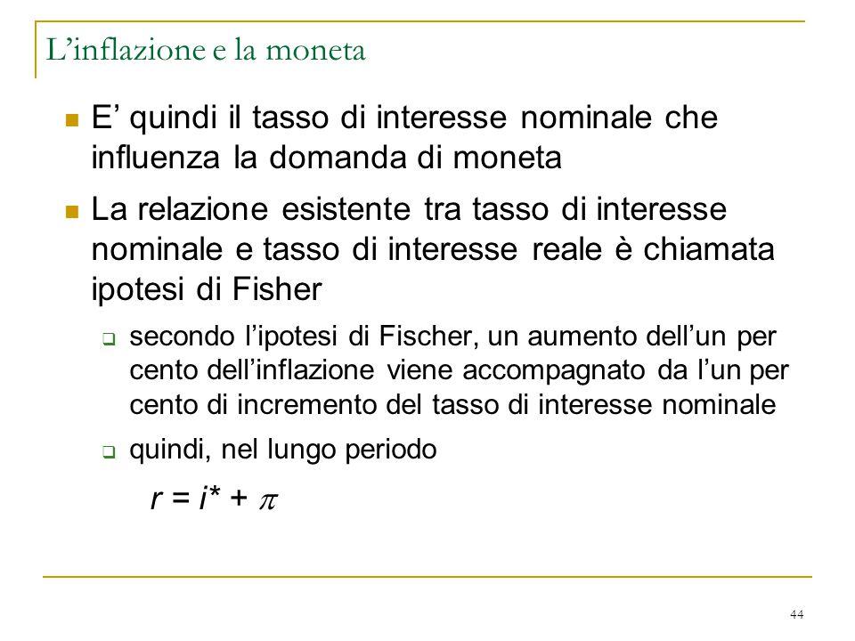 44 E' quindi il tasso di interesse nominale che influenza la domanda di moneta La relazione esistente tra tasso di interesse nominale e tasso di inter