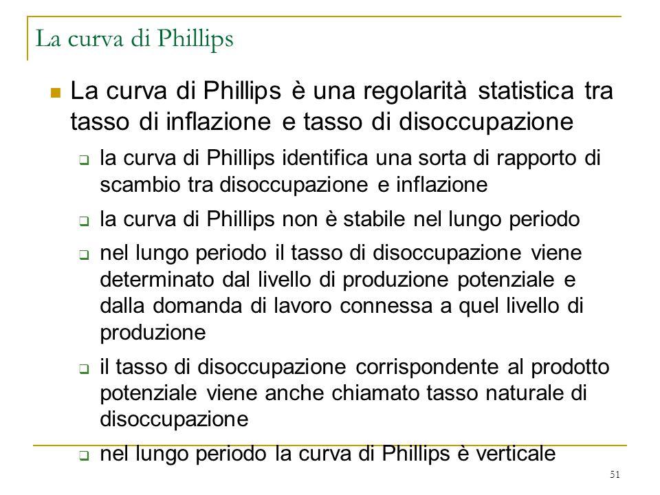 51 La curva di Phillips è una regolarità statistica tra tasso di inflazione e tasso di disoccupazione  la curva di Phillips identifica una sorta di r