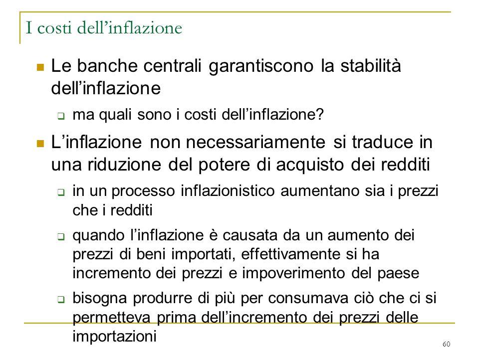 60 Le banche centrali garantiscono la stabilità dell'inflazione  ma quali sono i costi dell'inflazione? L'inflazione non necessariamente si traduce i