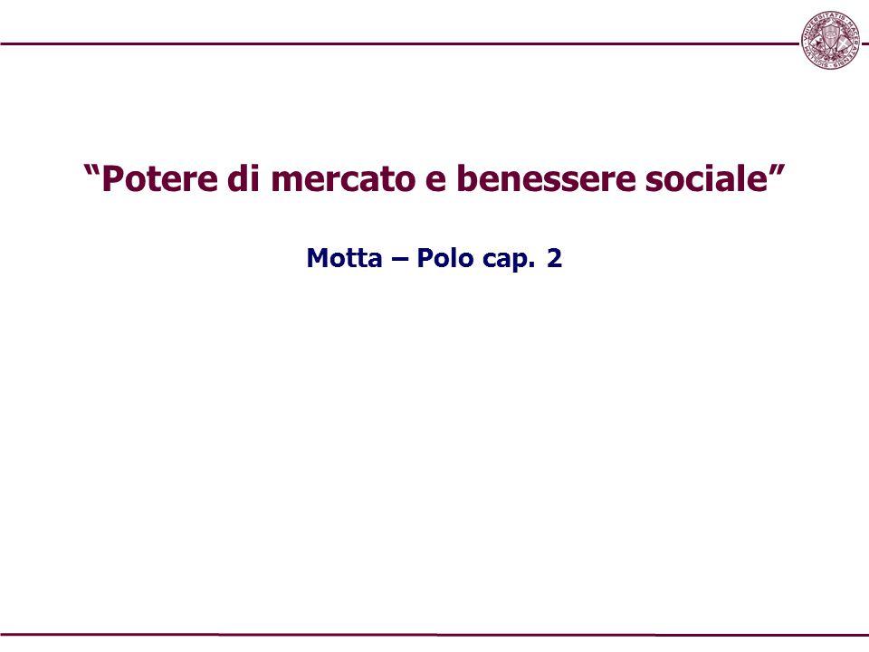 """""""Potere di mercato e benessere sociale"""" Motta – Polo cap. 2"""