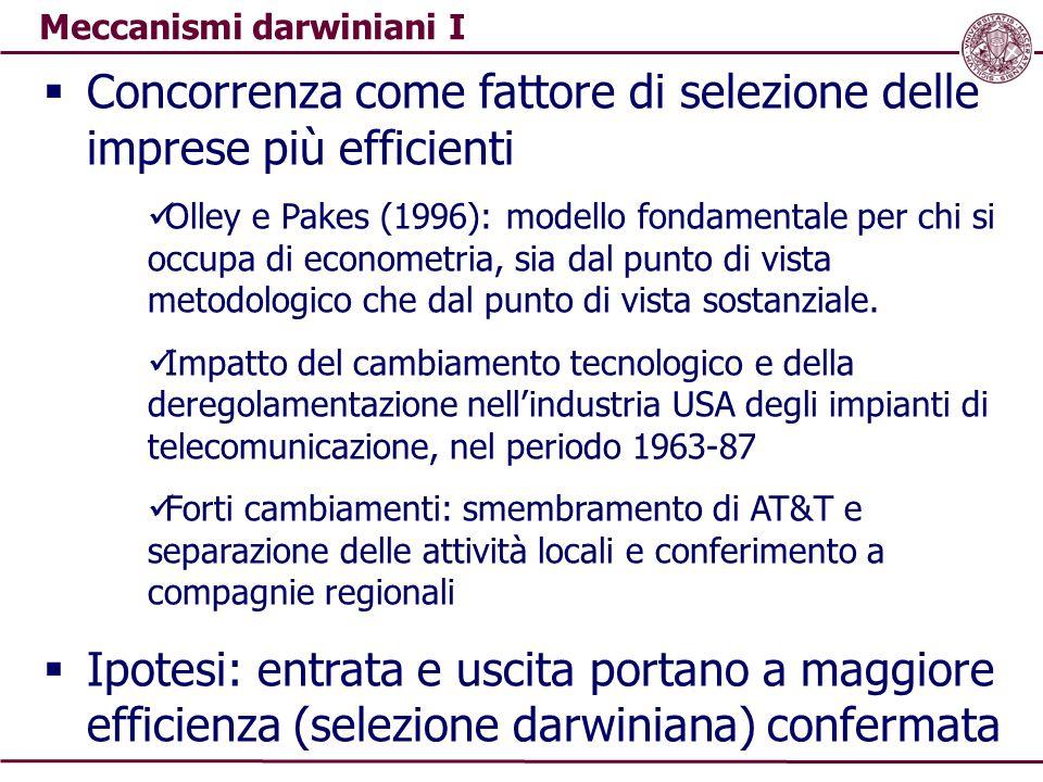 Meccanismi darwiniani I  Concorrenza come fattore di selezione delle imprese più efficienti Olley e Pakes (1996): modello fondamentale per chi si occ