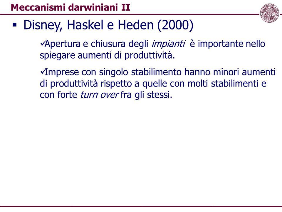 Meccanismi darwiniani II  Disney, Haskel e Heden (2000) Apertura e chiusura degli impianti è importante nello spiegare aumenti di produttività. Impre
