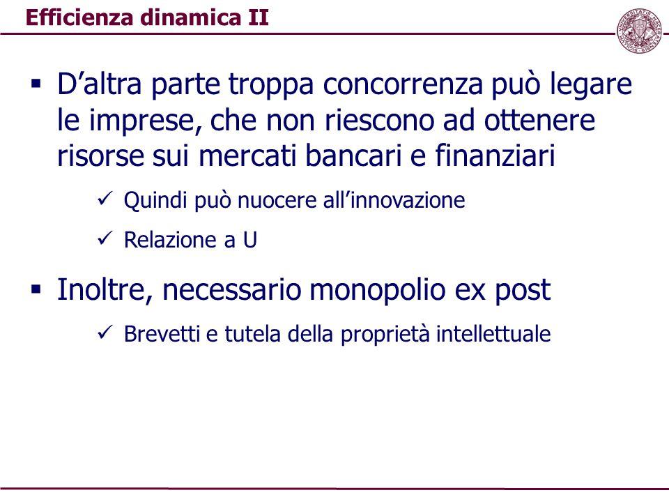 Efficienza dinamica II  D'altra parte troppa concorrenza può legare le imprese, che non riescono ad ottenere risorse sui mercati bancari e finanziari
