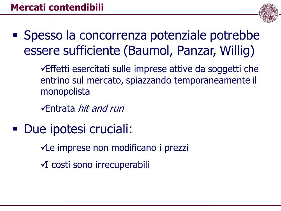 Mercati contendibili  Spesso la concorrenza potenziale potrebbe essere sufficiente (Baumol, Panzar, Willig) Effetti esercitati sulle imprese attive d