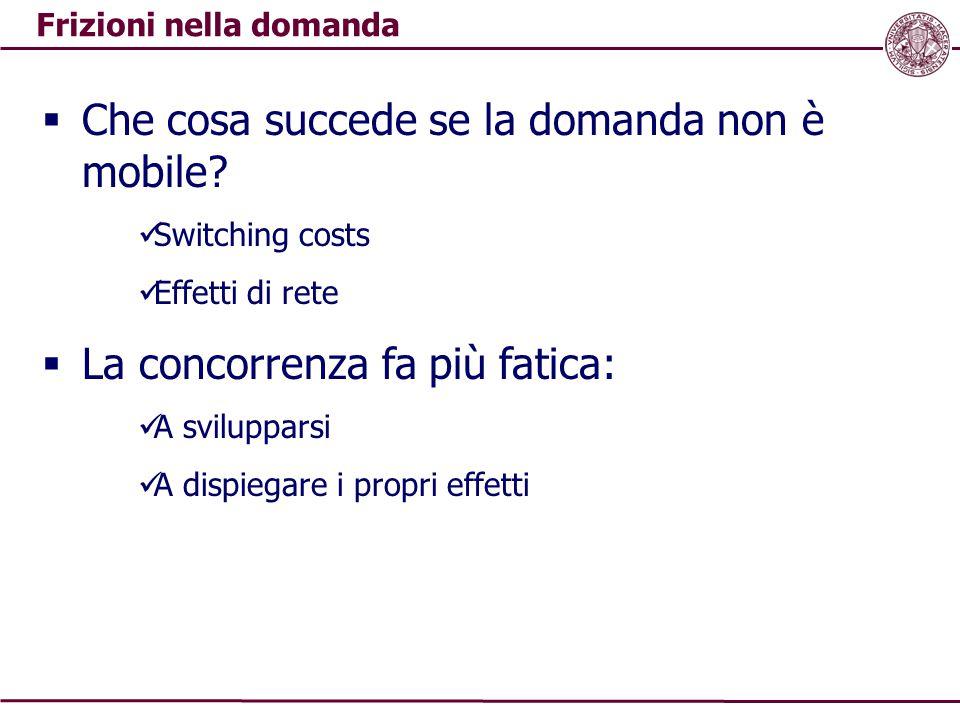 Frizioni nella domanda  Che cosa succede se la domanda non è mobile? Switching costs Effetti di rete  La concorrenza fa più fatica: A svilupparsi A
