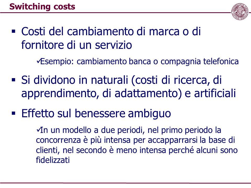 Switching costs  Costi del cambiamento di marca o di fornitore di un servizio Esempio: cambiamento banca o compagnia telefonica  Si dividono in natu