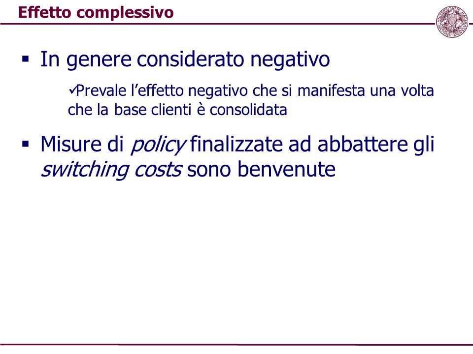 Effetto complessivo  In genere considerato negativo Prevale l'effetto negativo che si manifesta una volta che la base clienti è consolidata  Misure