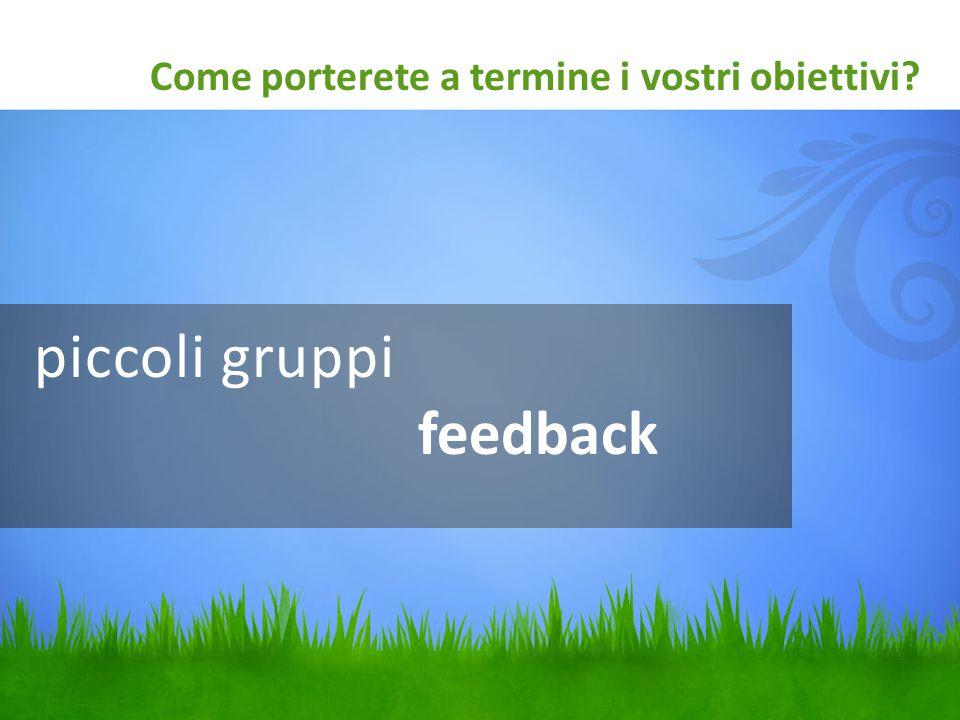 piccoli gruppi feedback Come porterete a termine i vostri obiettivi