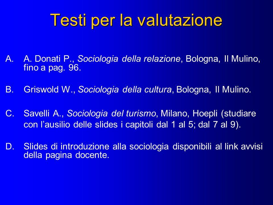 Testi per la valutazione A.A. Donati P., Sociologia della relazione, Bologna, Il Mulino, fino a pag. 96. B.Griswold W., Sociologia della cultura, Bolo