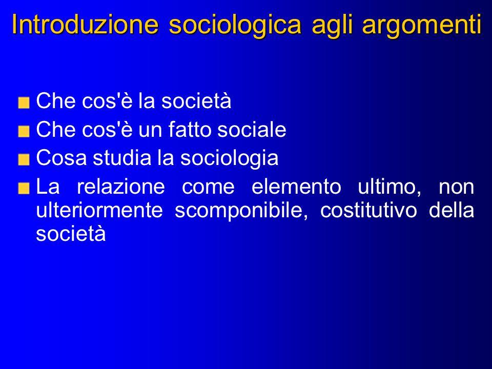 Introduzione sociologica agli argomenti Che cos è la società Che cos è un fatto sociale Cosa studia la sociologia La relazione come elemento ultimo, non ulteriormente scomponibile, costitutivo della società
