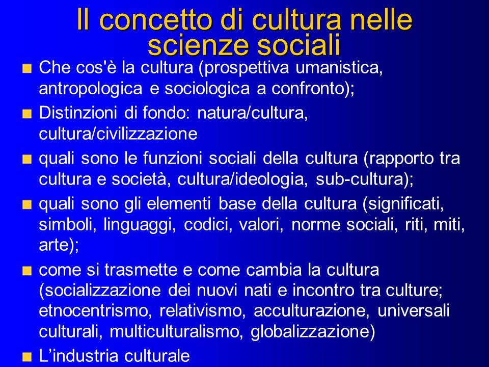 Il concetto di cultura nelle scienze sociali Che cos'è la cultura (prospettiva umanistica, antropologica e sociologica a confronto); Distinzioni di fo