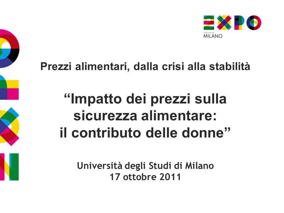 Prezzi alimentari, dalla crisi alla stabilità Impatto dei prezzi sulla sicurezza alimentare: il contributo delle donne Università degli Studi di Milano 17 ottobre 2011