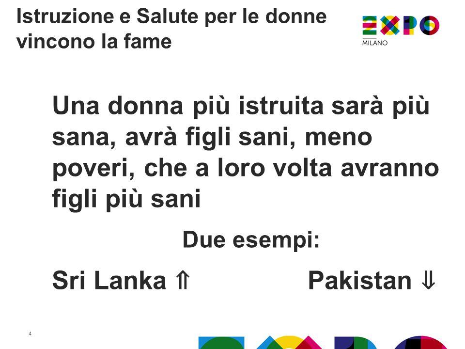 Una donna più istruita sarà più sana, avrà figli sani, meno poveri, che a loro volta avranno figli più sani Due esempi: Sri Lanka ⇑ Pakistan ⇓ Istruzione e Salute per le donne vincono la fame 4
