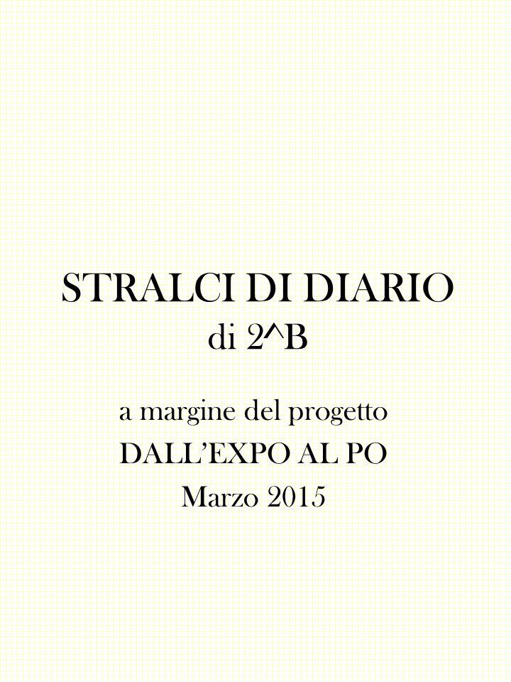 STRALCI DI DIARIO di 2^B a margine del progetto DALL'EXPO AL PO Marzo 2015