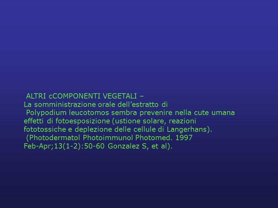 ALTRI cCOMPONENTI VEGETALI – La somministrazione orale dell'estratto di Polypodium leucotomos sembra prevenire nella cute umana effetti di fotoesposizione (ustione solare, reazioni fototossiche e deplezione delle cellule di Langerhans).