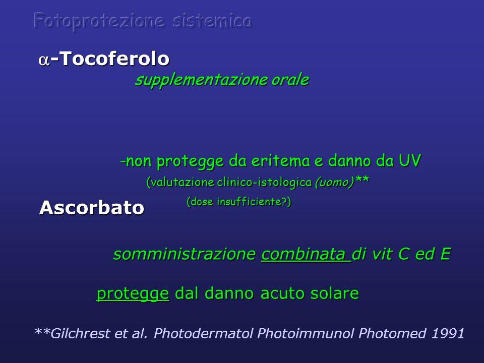 Ascorbato somministrazione combinata di vit C ed E somministrazione combinata di vit C ed E protegge dal danno acuto solare protegge dal danno acuto solare