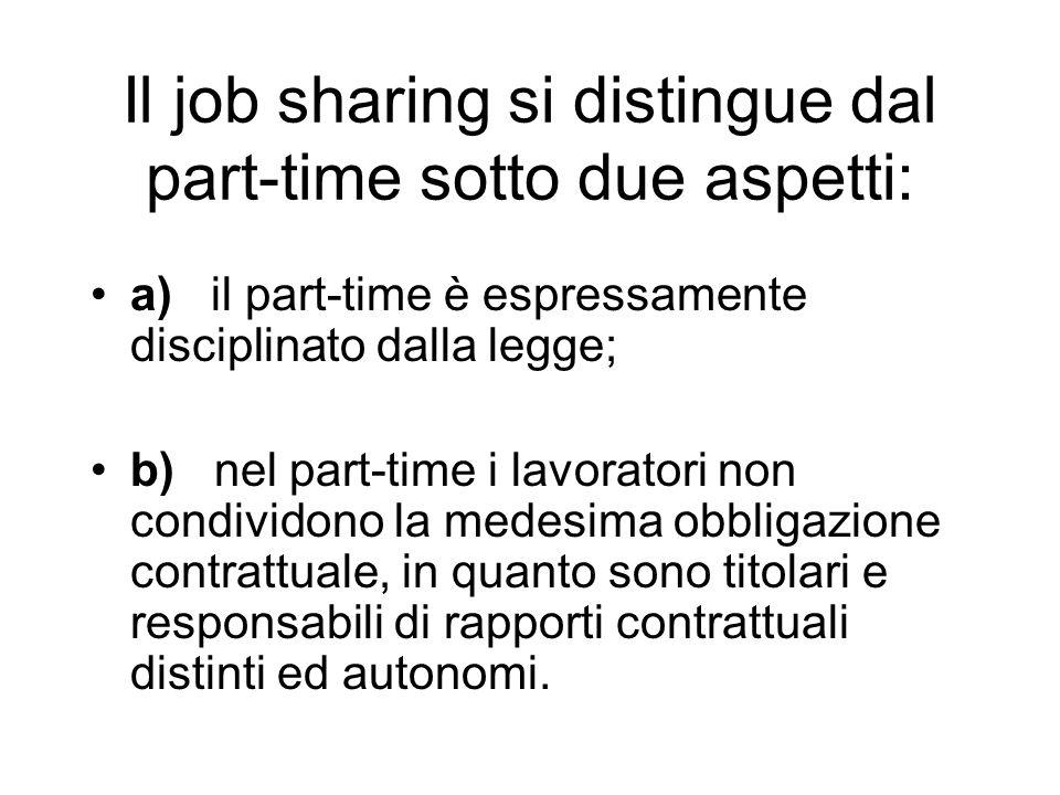 Il job sharing si distingue dal part-time sotto due aspetti: a) il part-time è espressamente disciplinato dalla legge; b) nel part-time i lavoratori non condividono la medesima obbligazione contrattuale, in quanto sono titolari e responsabili di rapporti contrattuali distinti ed autonomi.
