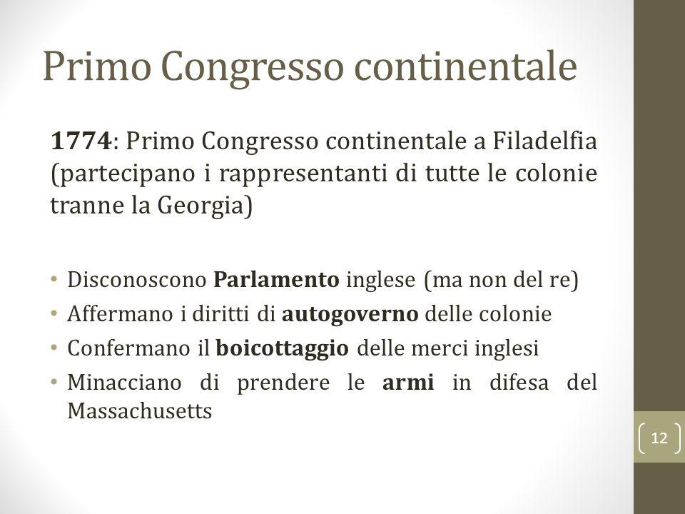 Primo Congresso continentale 1774: Primo Congresso continentale a Filadelfia (partecipano i rappresentanti di tutte le colonie tranne la Georgia) Disc