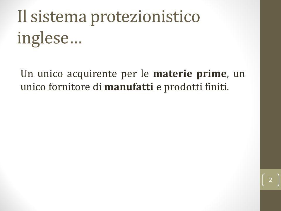 Il sistema protezionistico inglese… Un unico acquirente per le materie prime, un unico fornitore di manufatti e prodotti finiti. 2