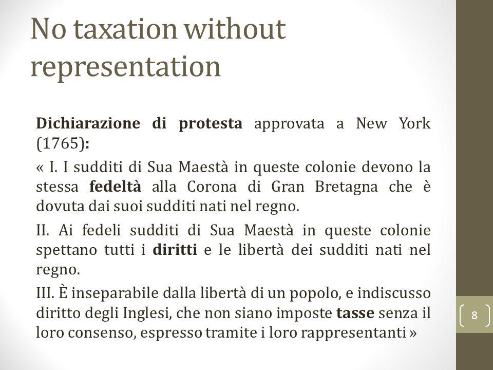No taxation without representation Dichiarazione di protesta approvata a New York (1765): « I. I sudditi di Sua Maestà in queste colonie devono la ste