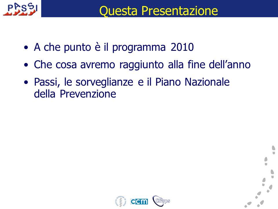 Questa Presentazione A che punto è il programma 2010 Che cosa avremo raggiunto alla fine dell'anno Passi, le sorveglianze e il Piano Nazionale della Prevenzione
